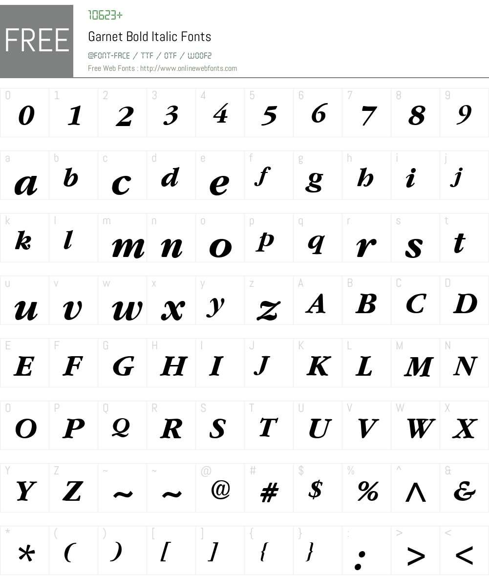 Garnet Font Screenshots