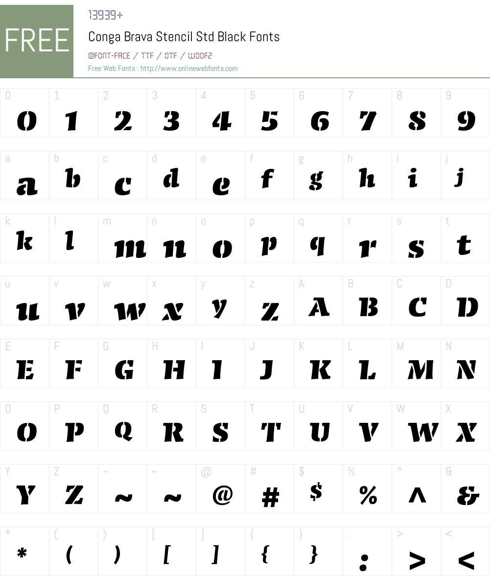Conga Brava Stencil Std Font Screenshots
