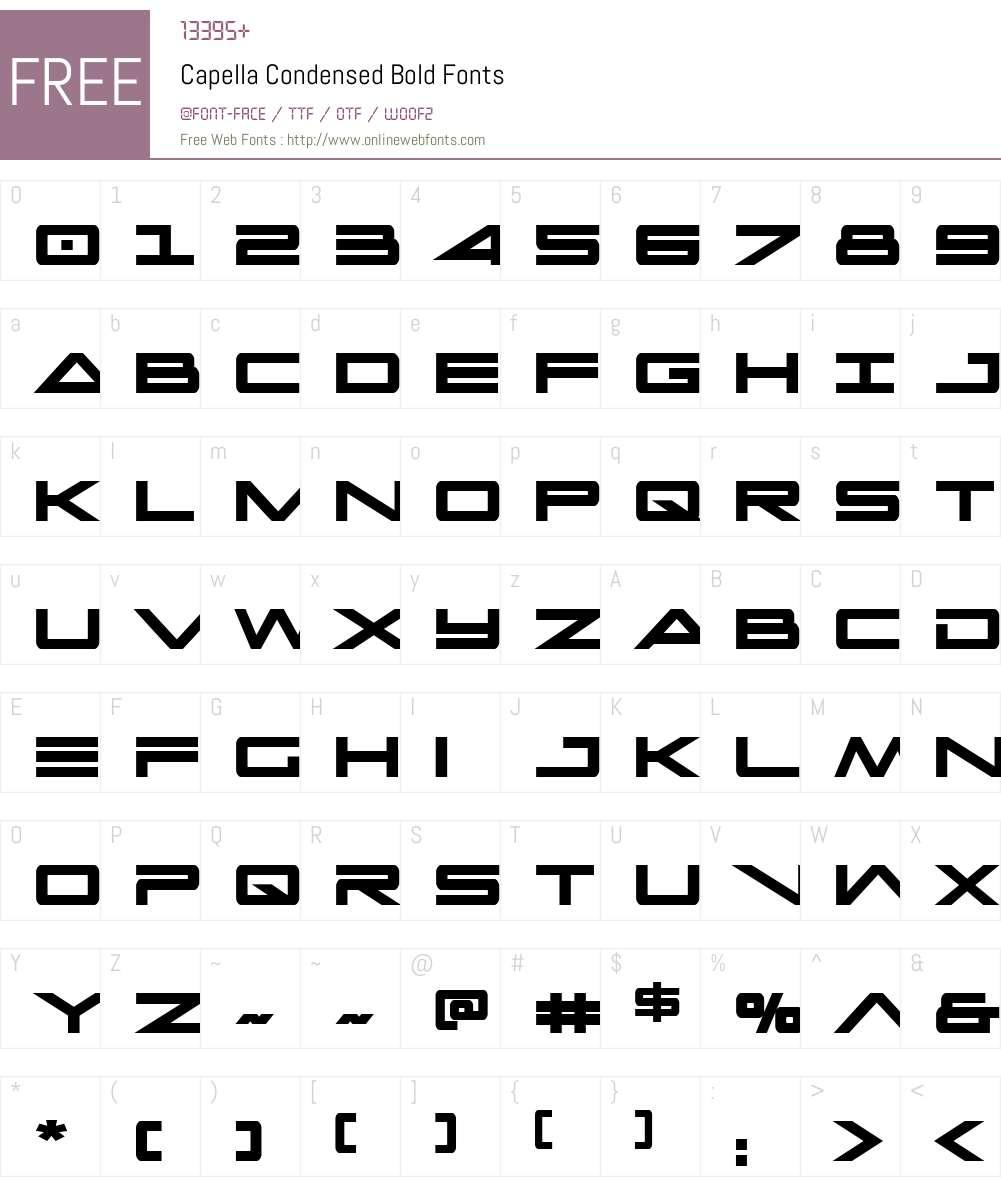 Capella Condensed Bold Font Screenshots