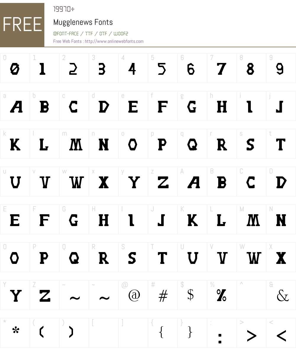 Mugglenews Font Screenshots
