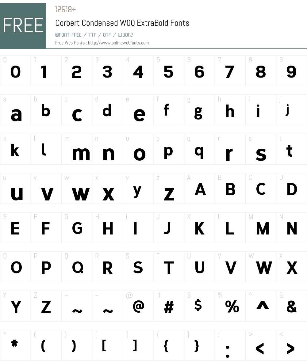 CorbertCondensedW00-XBold Font Screenshots