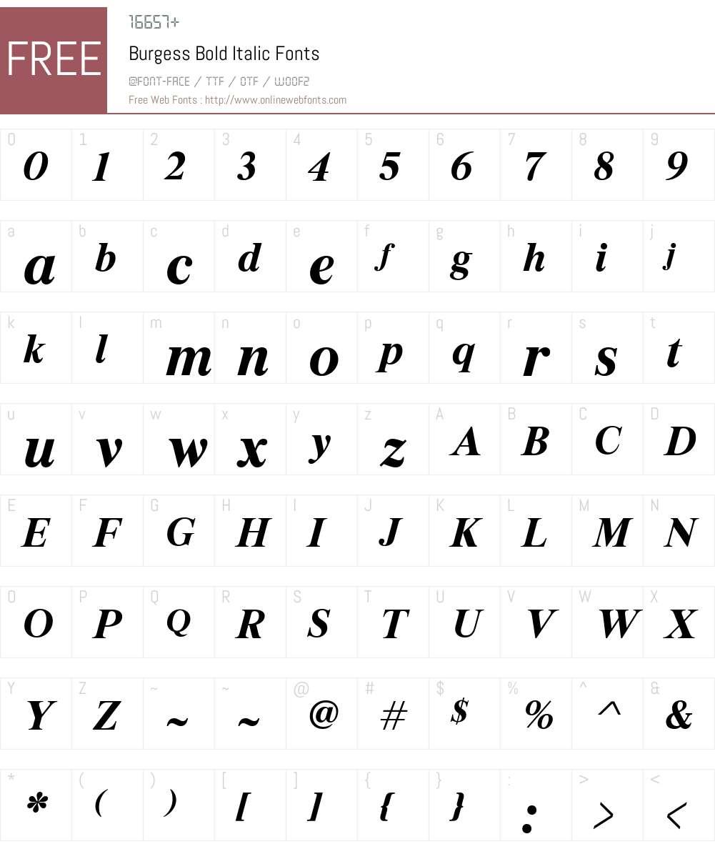 Burgess Font Screenshots