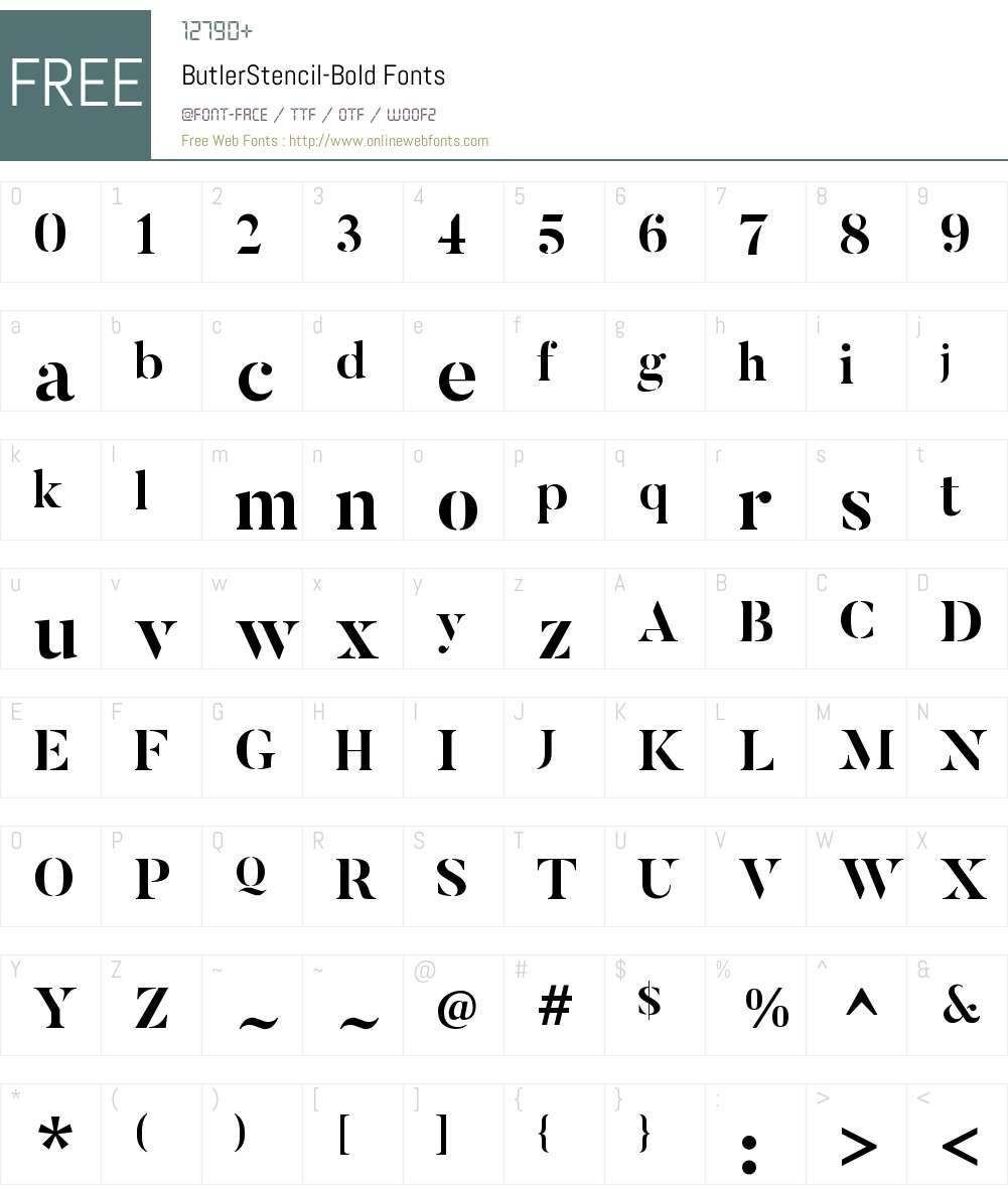 Butler Stencil Font Screenshots