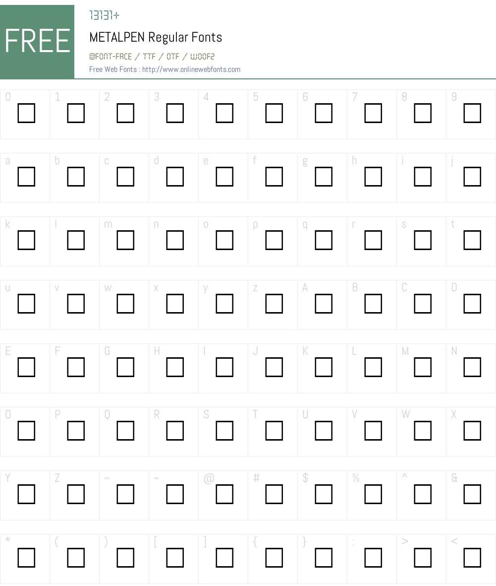 METALPEN Font Screenshots