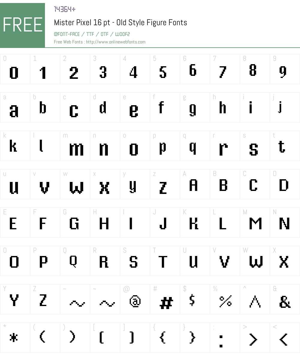 Mister Pixel 16 pt - Old Style Figure Font Screenshots