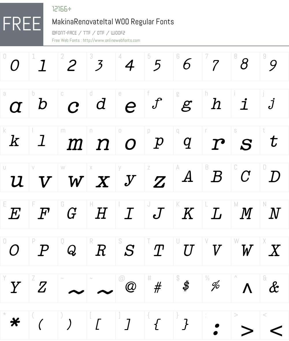 MakinaRenovateItalW00-Rg Font Screenshots