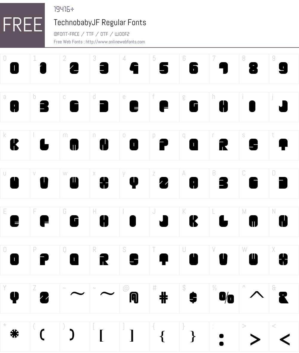 TechnobabyJF-Regular Font Screenshots