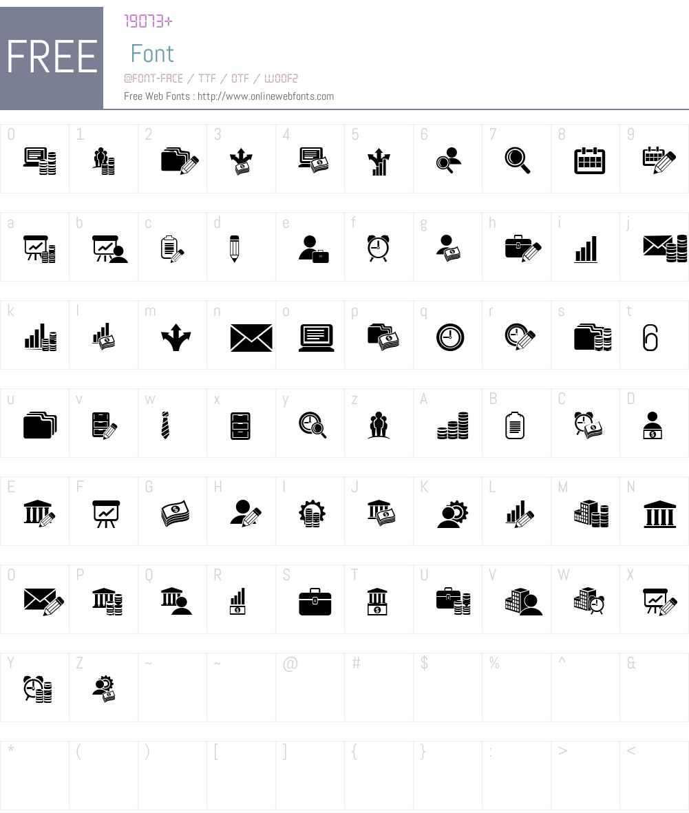 Bankwesen Font Screenshots