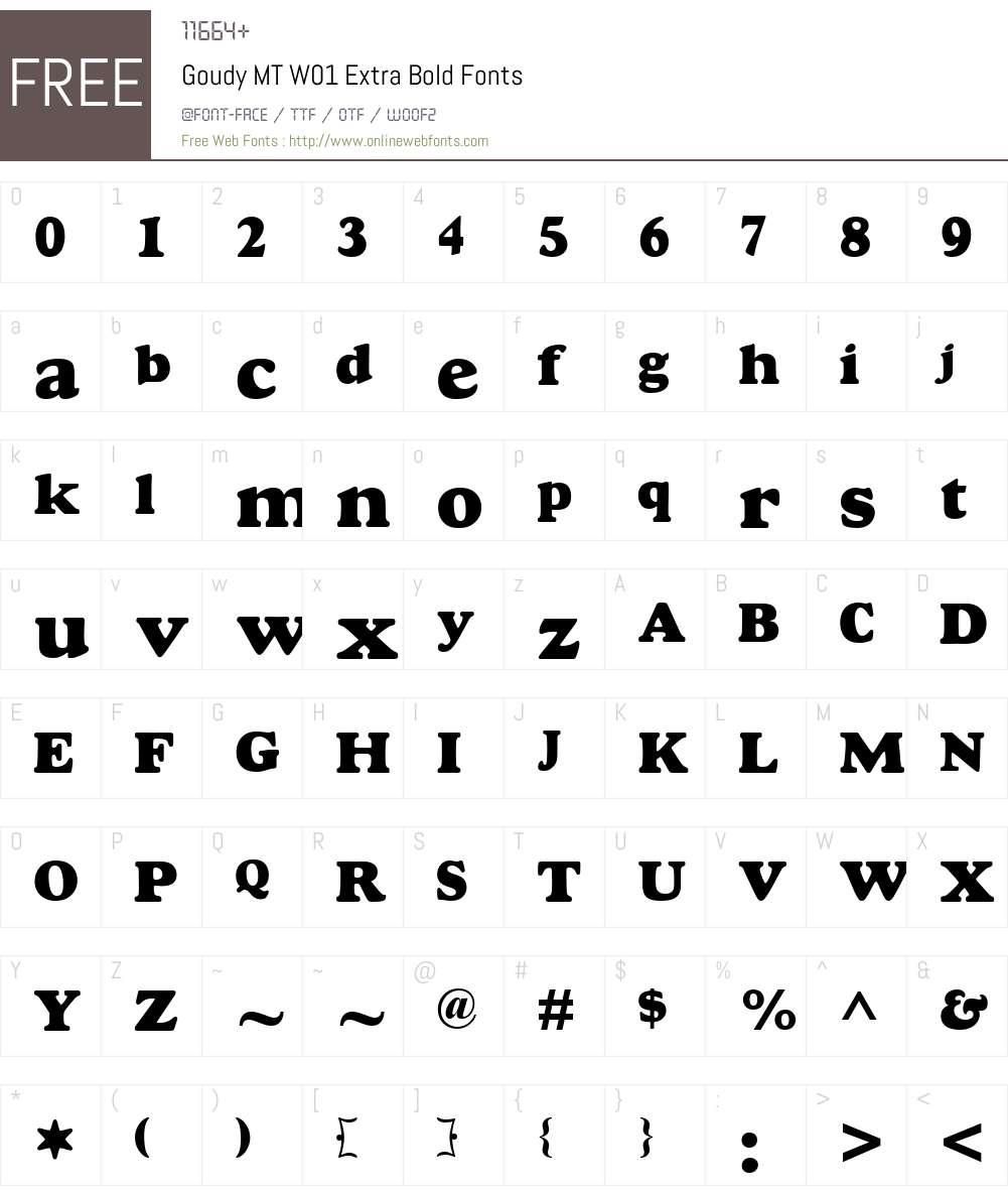 GoudyMTW01-ExtraBold Font Screenshots