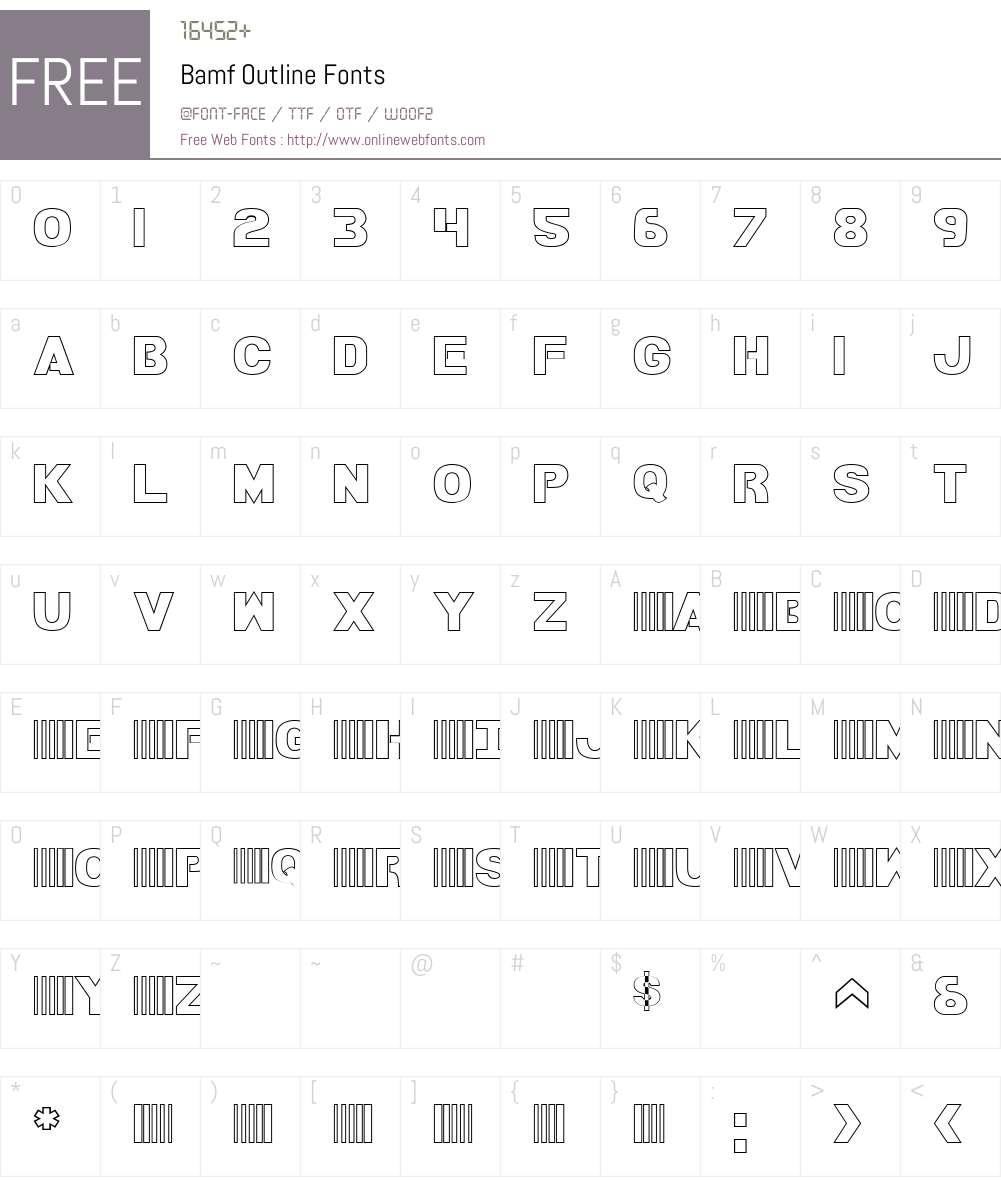 Bamf Outline Font Screenshots