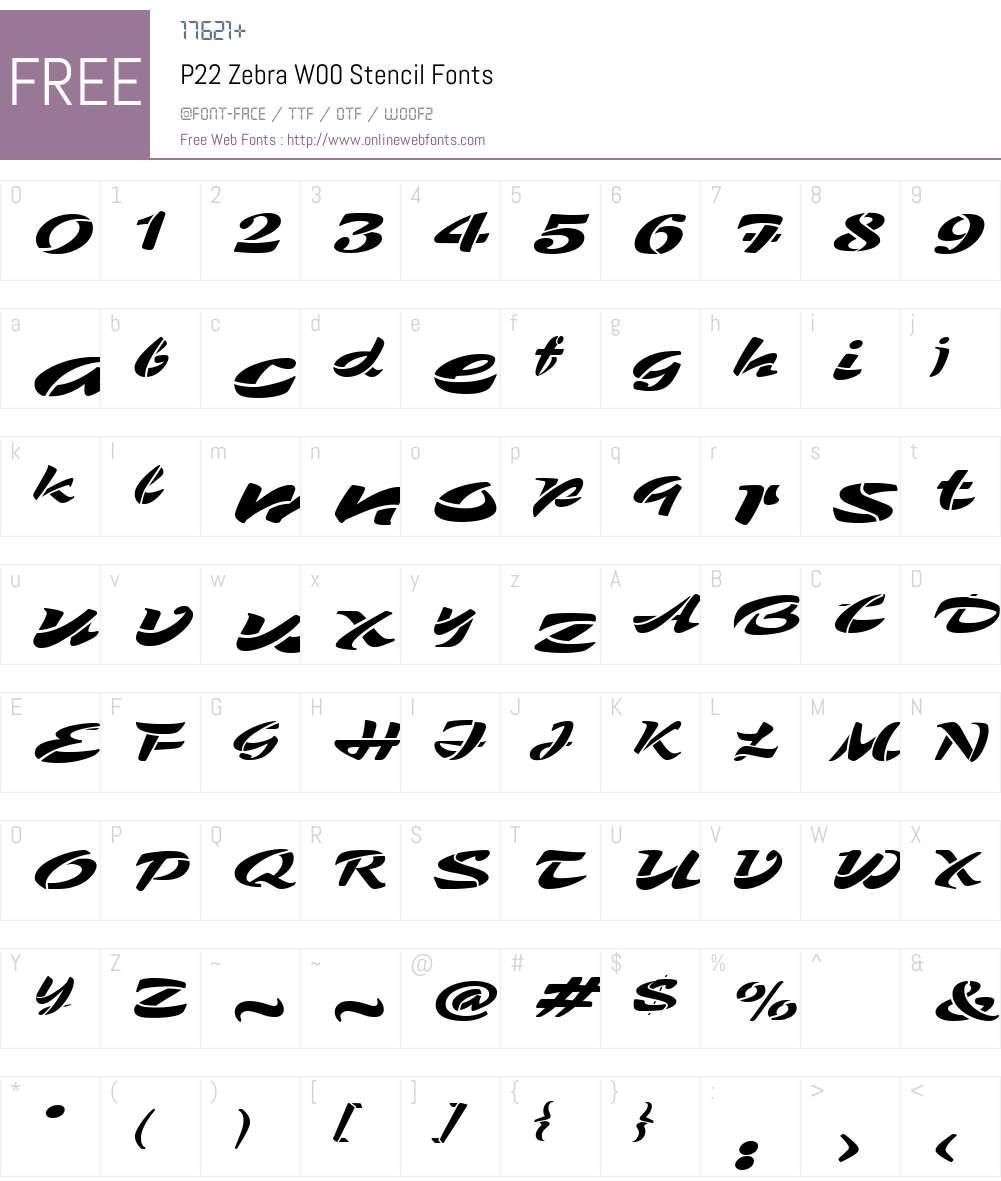 P22ZebraW00-Stencil Font Screenshots