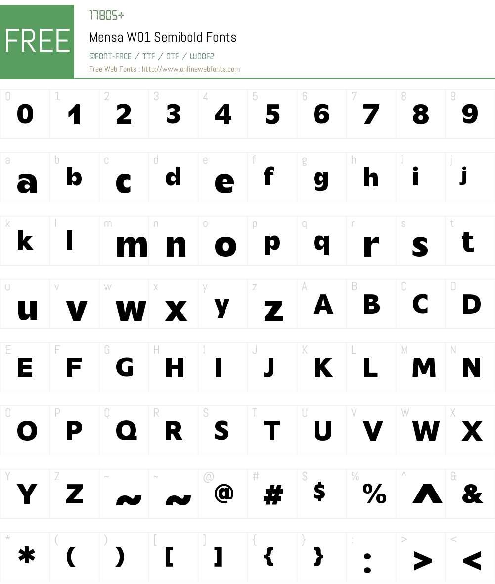 MensaW01-Semibold Font Screenshots