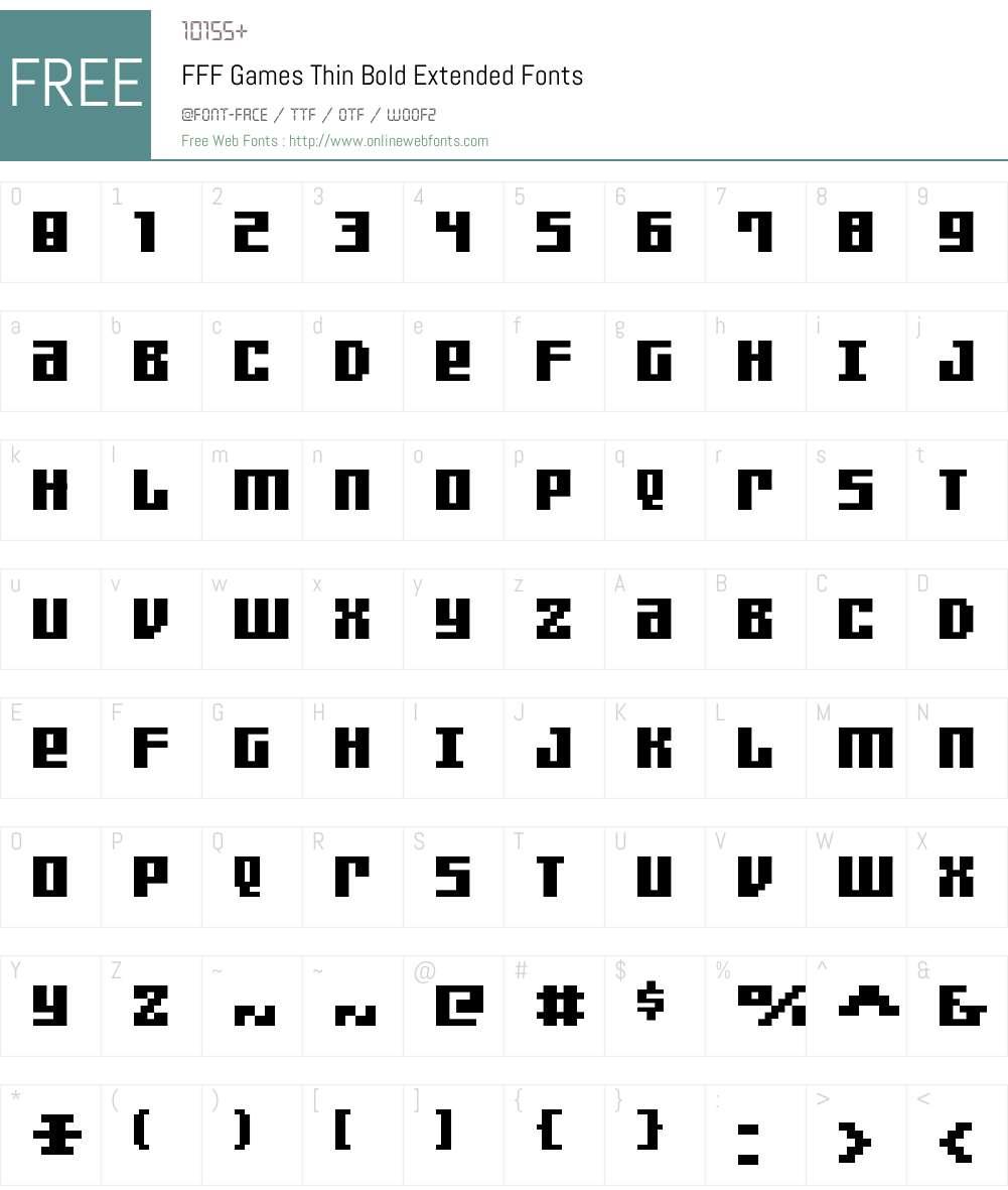 FFF Games Thin Bold Extended Font Screenshots