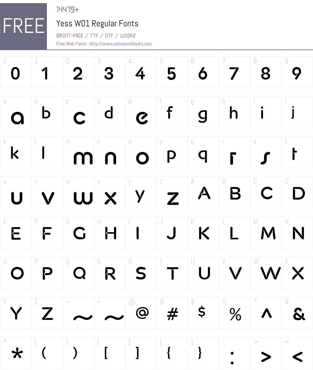 YessW01-Regular Font Screenshots