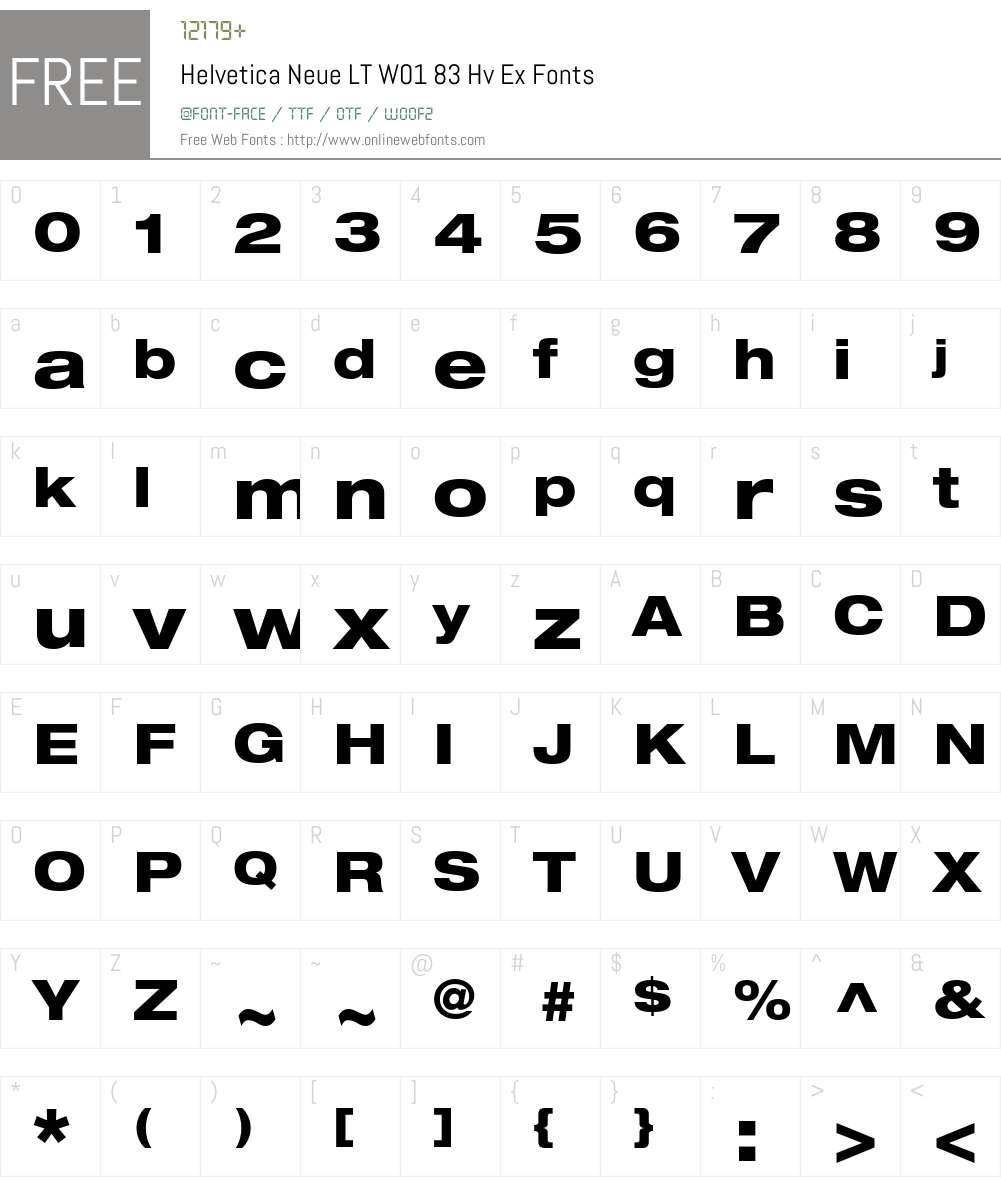 HelveticaNeueLTW01-83HvEx Font Screenshots