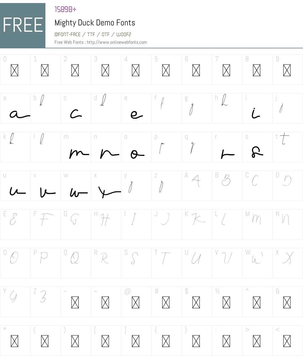 Mighty Duck Demo Font Screenshots