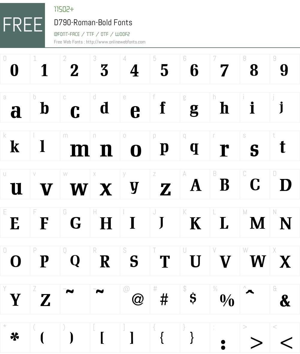 D790-Roman Font Screenshots