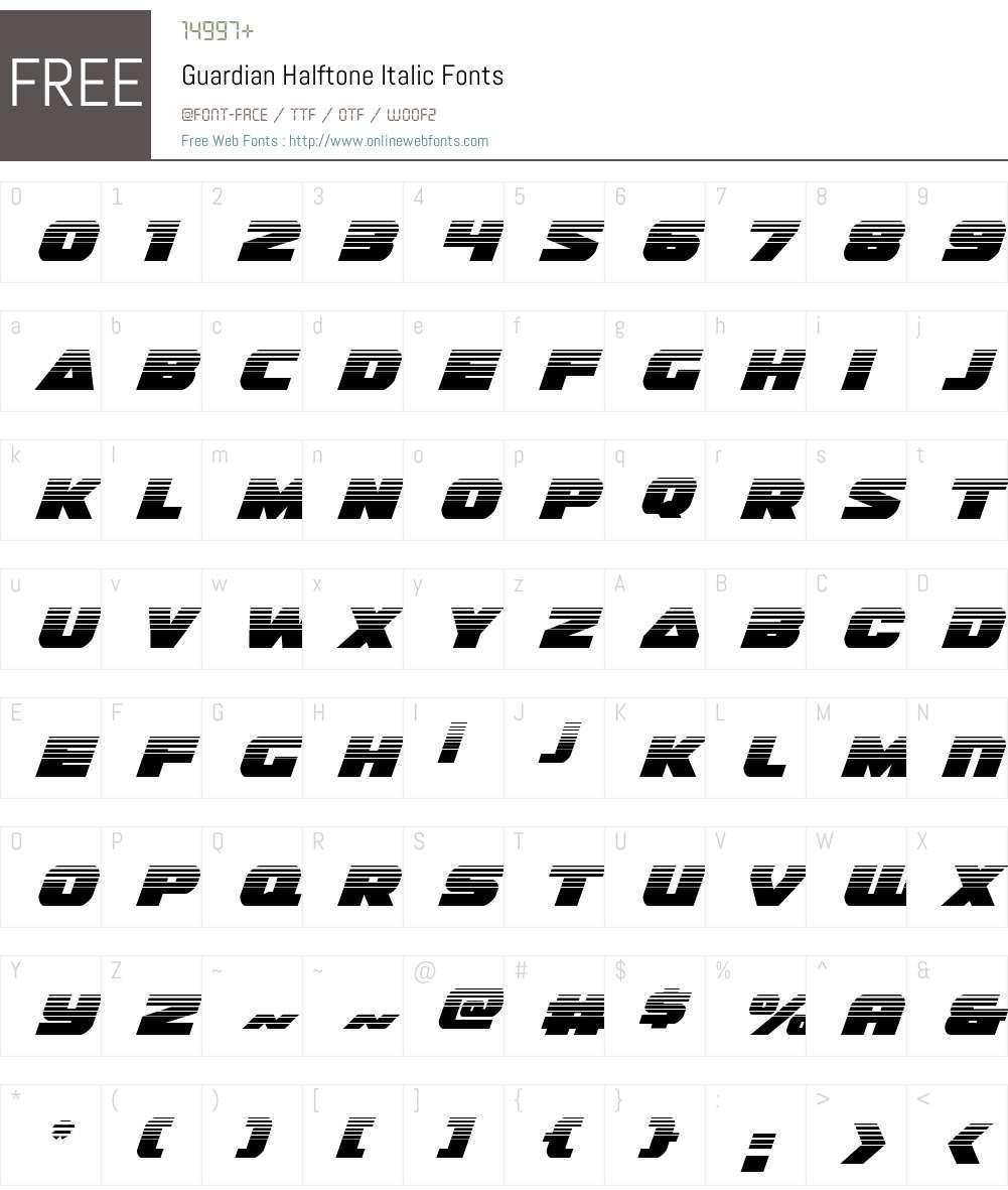 Guardian Halftone Italic Font Screenshots