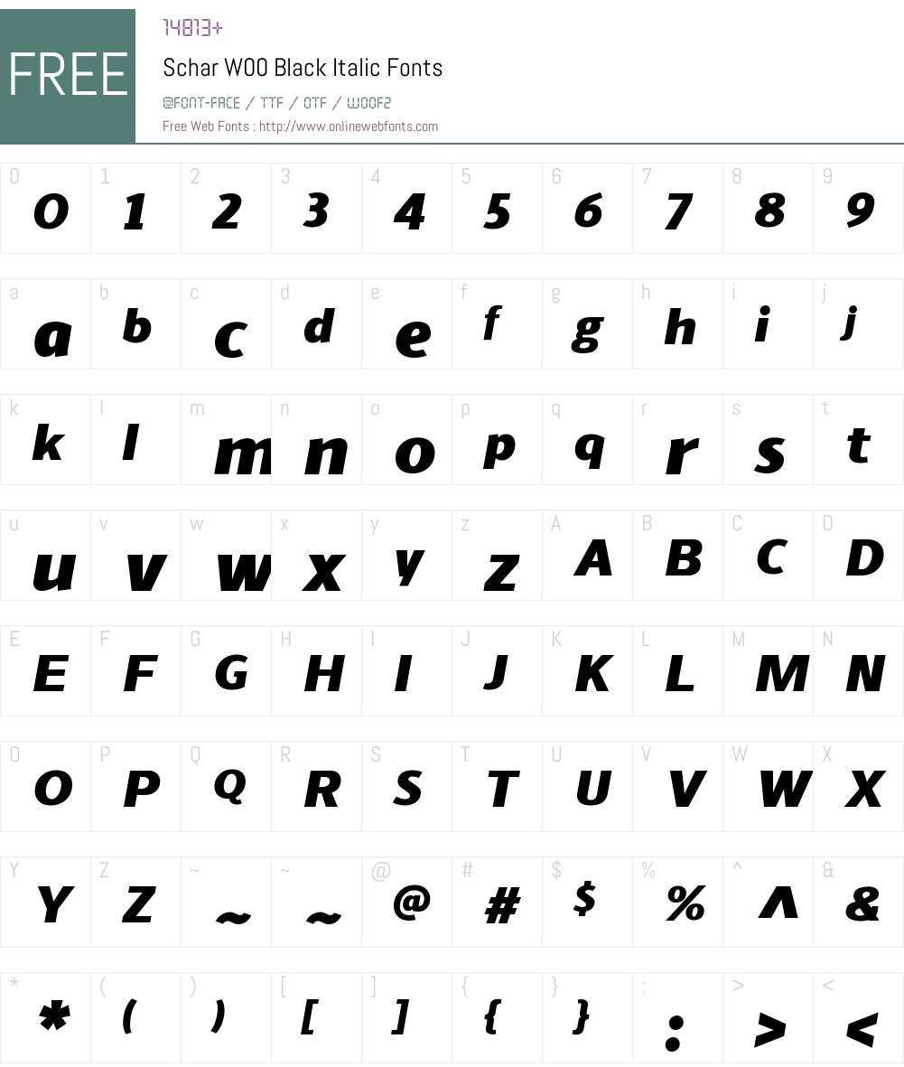 ScharW00-BlackItalic Font Screenshots