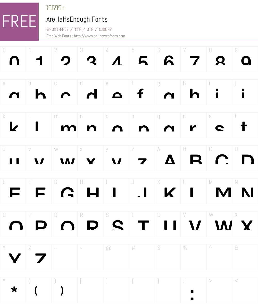 AreHalfsEnough Font Screenshots