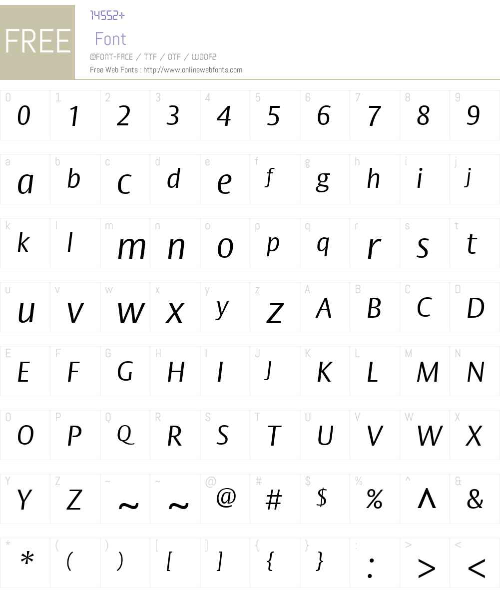 BigVestaW01-LightItalic Font Screenshots