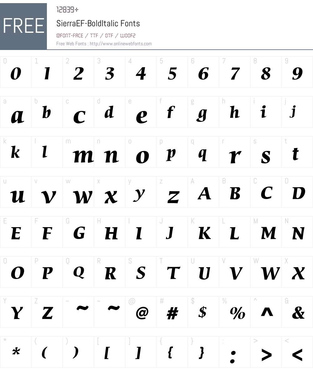 SierraEF-BoldItalic Font Screenshots