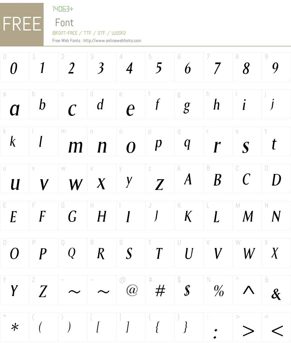 SagaW00-Italic Font Screenshots