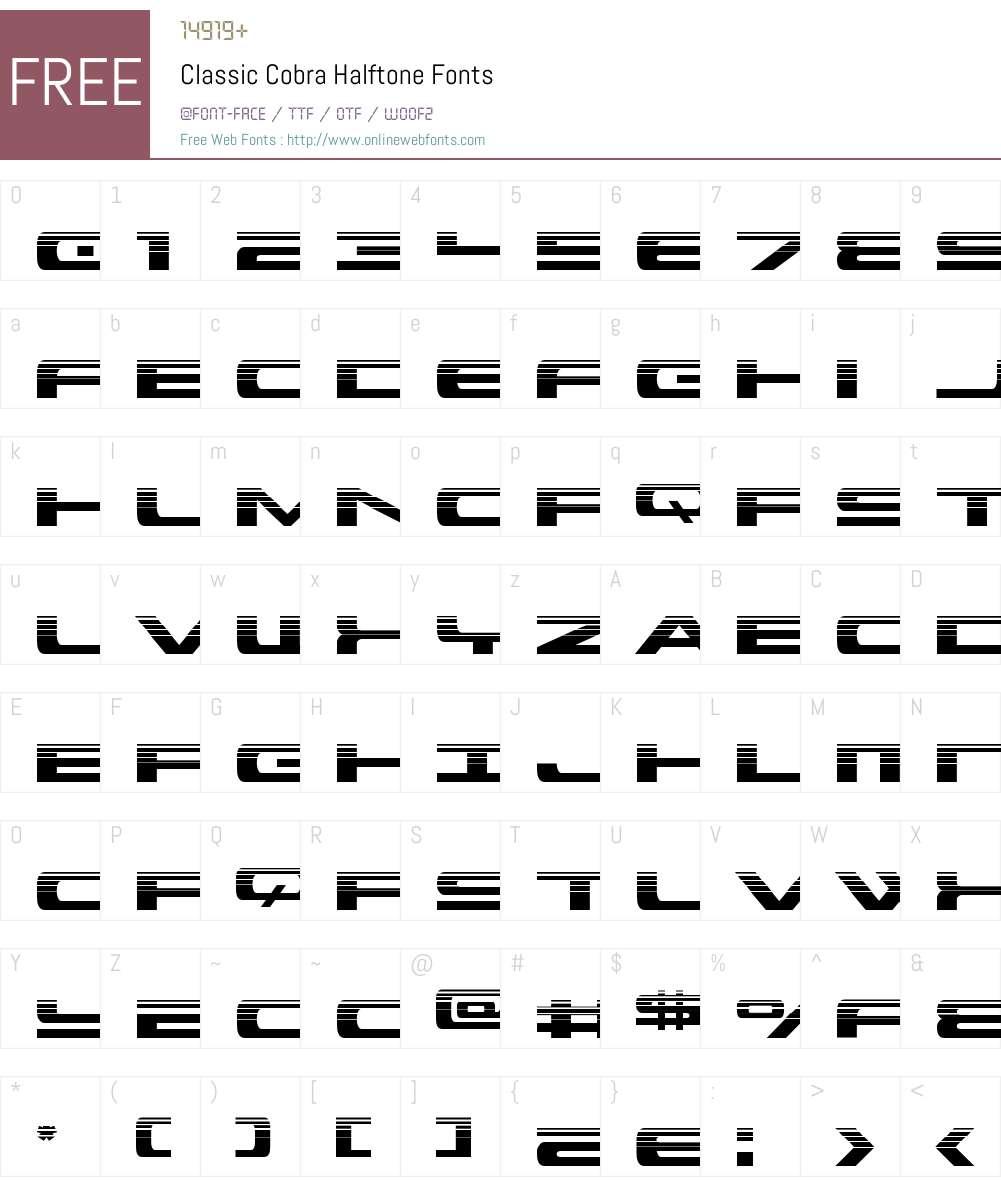 Classic Cobra Halftone Font Screenshots
