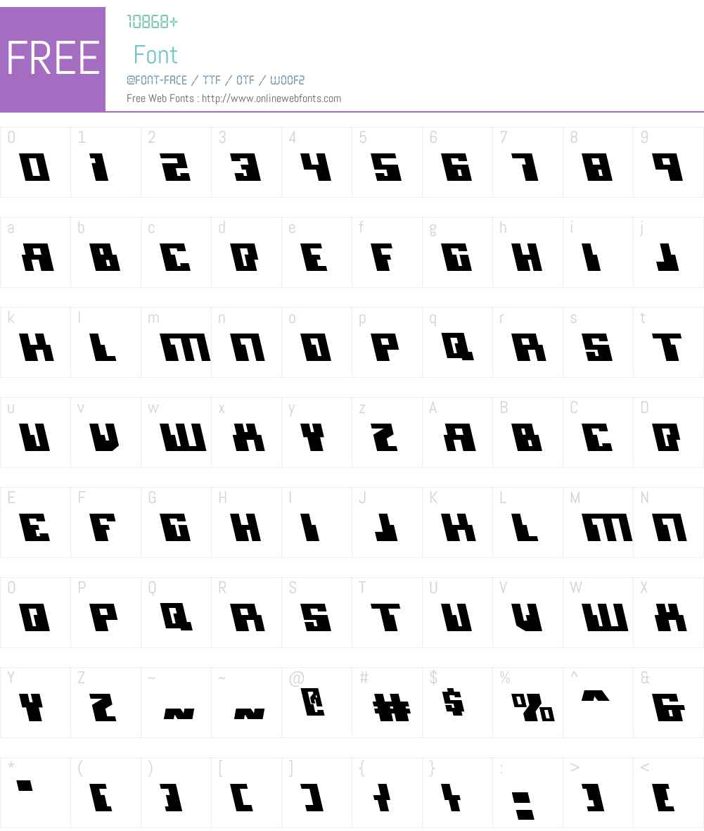 Micronian Leftalic Font Screenshots