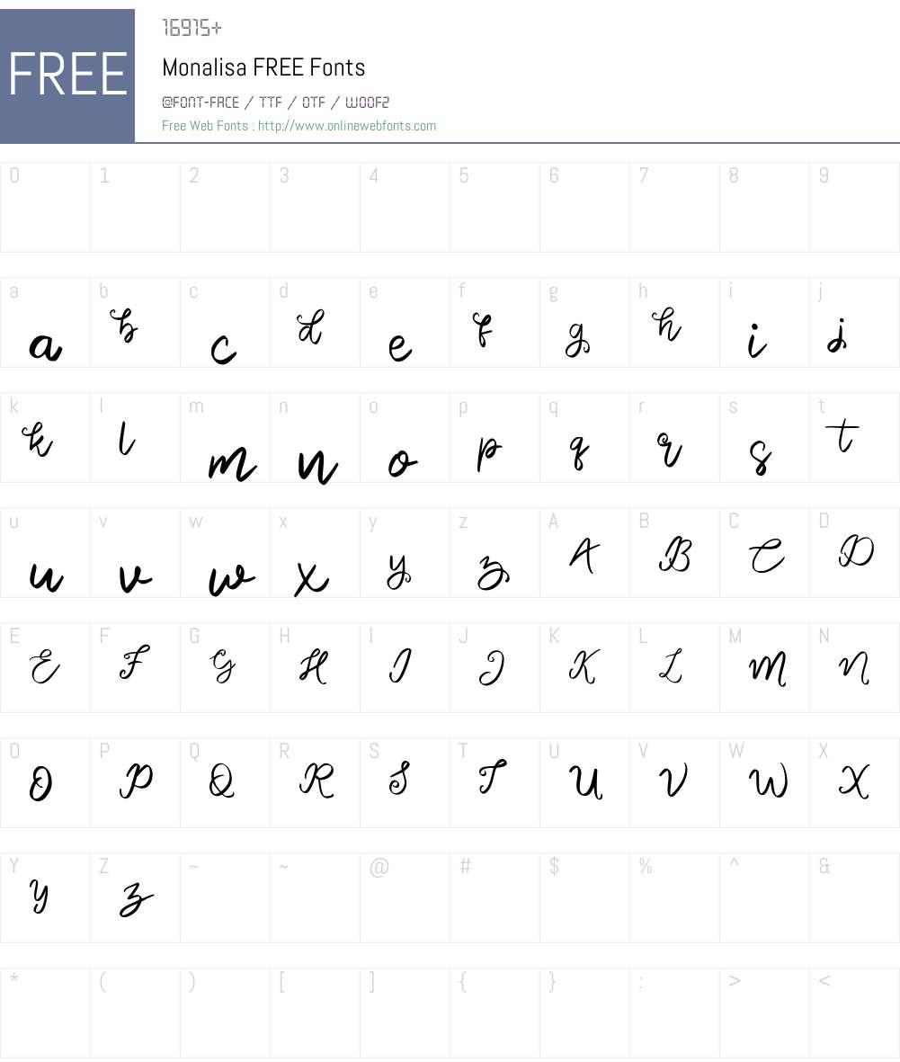 Monalisa FREE Font Screenshots