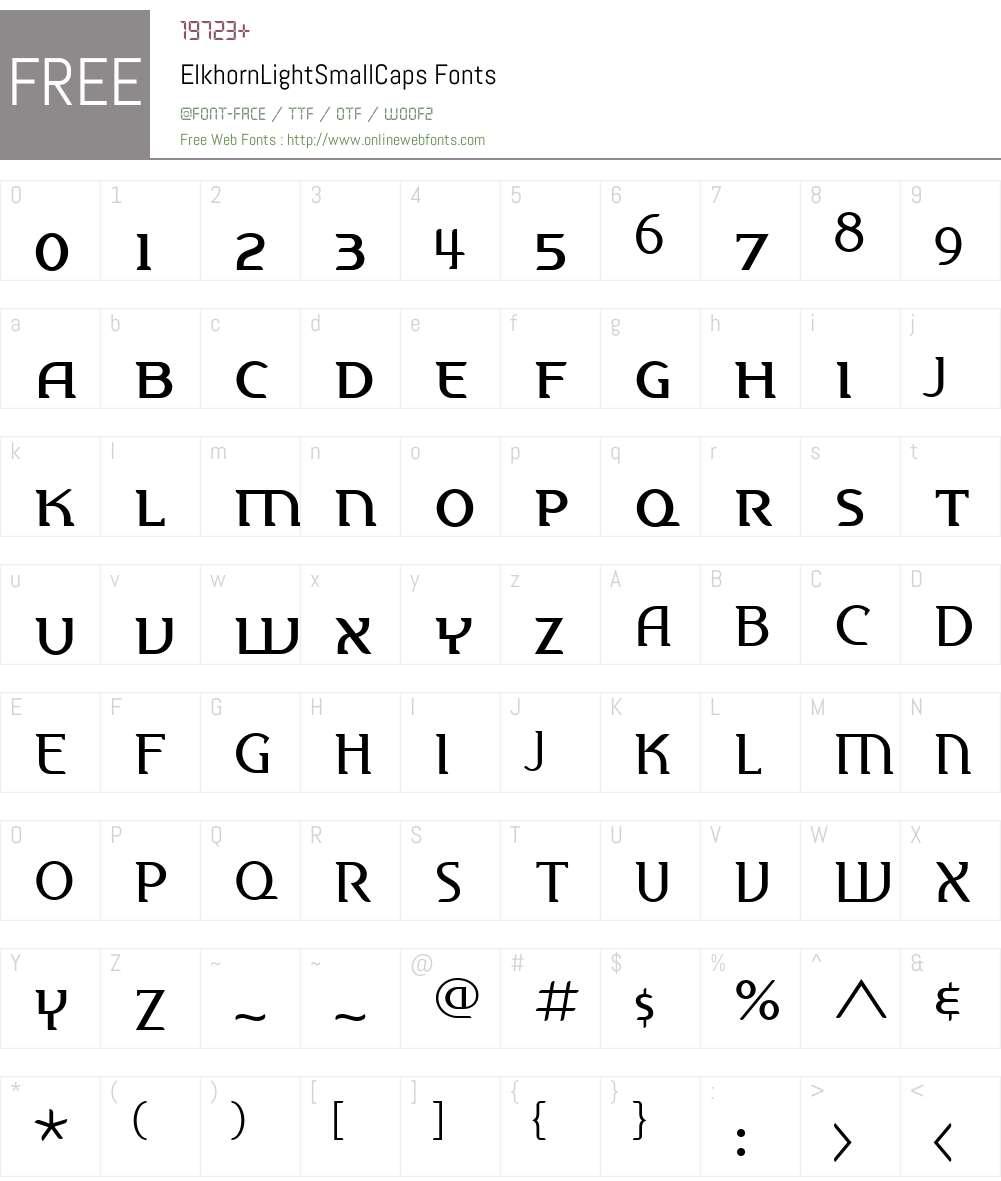 ElkhornW00-LightSC Font Screenshots