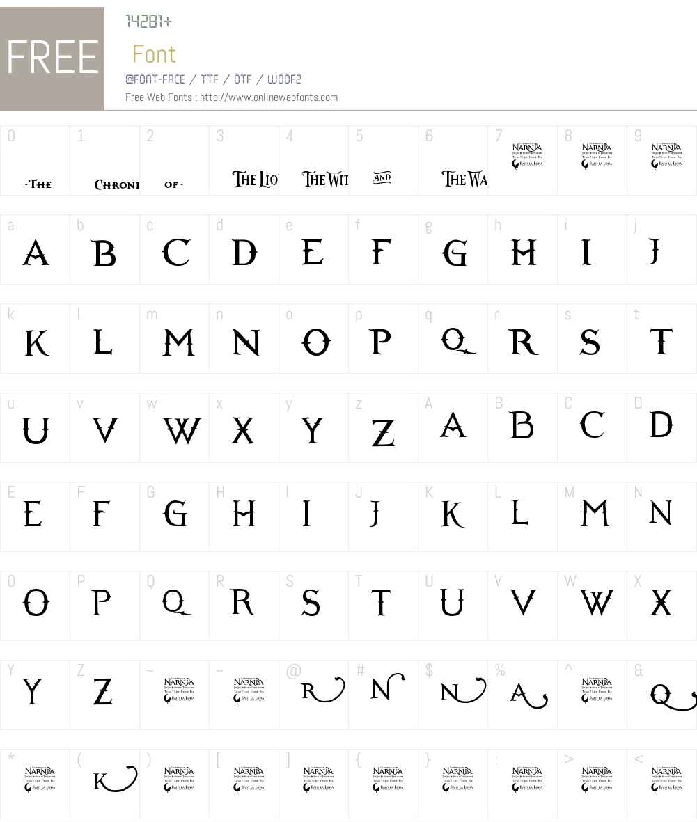 Narnia BLL Font Screenshots