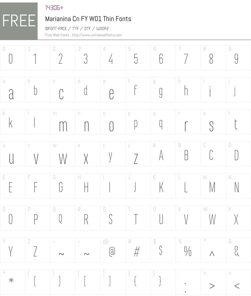 MarianinaCnFYW01-Thin Font Screenshots
