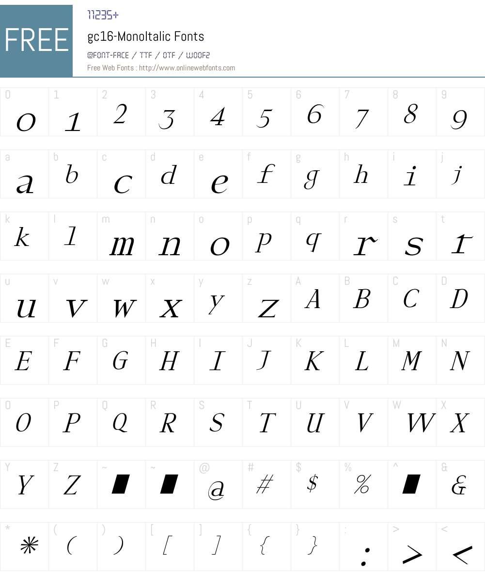 gc16 Mono Italic Font Screenshots