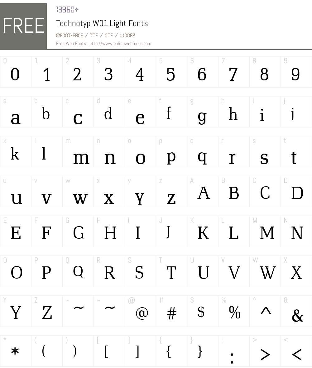 TechnotypW01-Light Font Screenshots