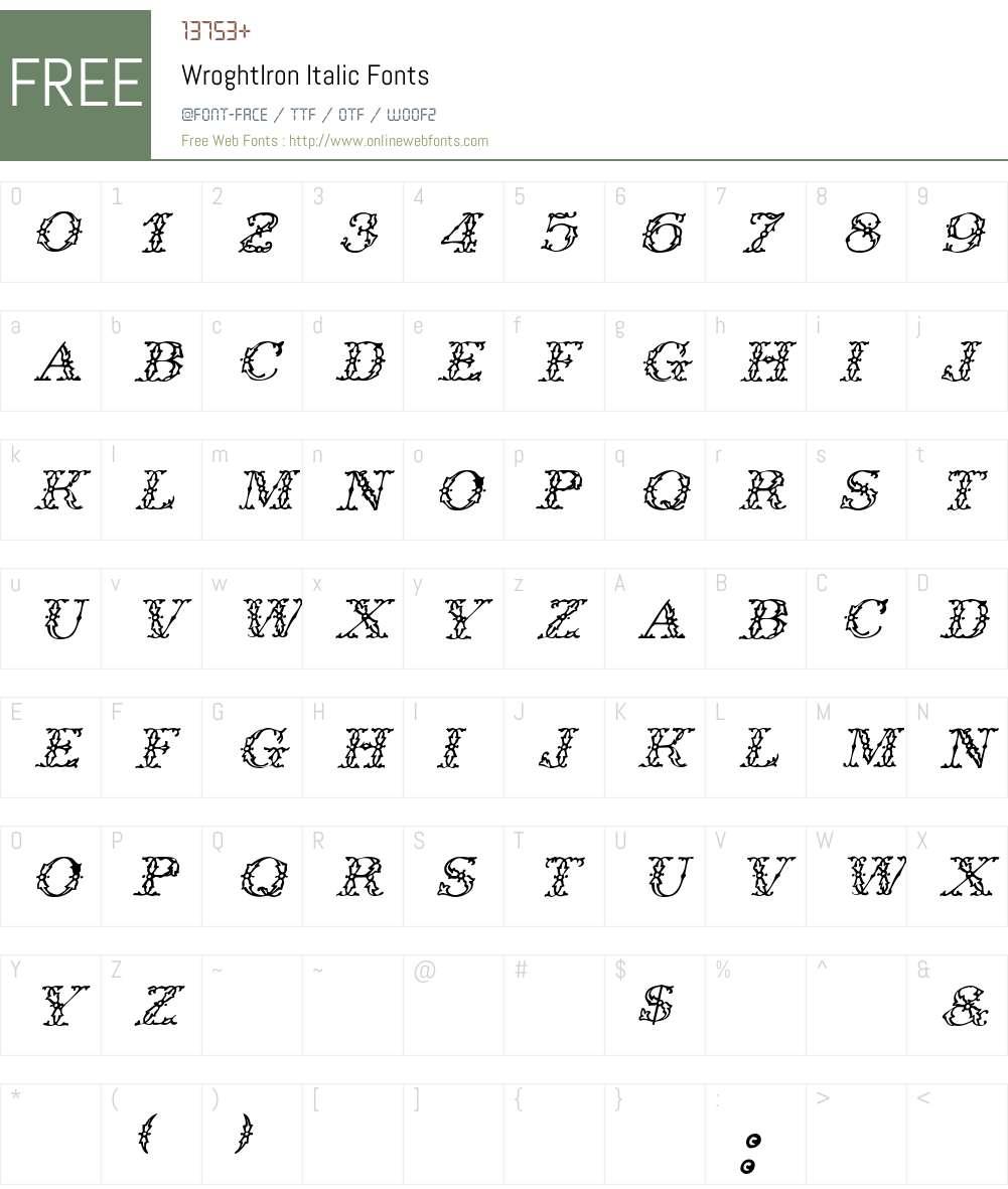 WroghtIron Font Screenshots