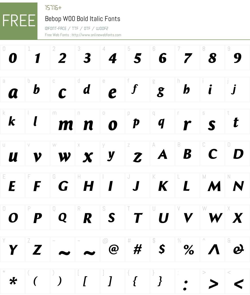 BebopW00-BoldItalic Font Screenshots