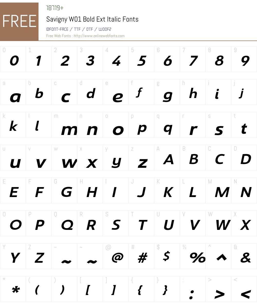 SavignyW01-BoldExtItalic Font Screenshots