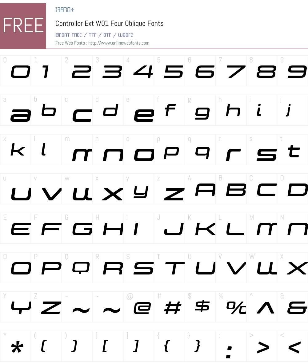 ControllerExtW01-FourObl Font Screenshots