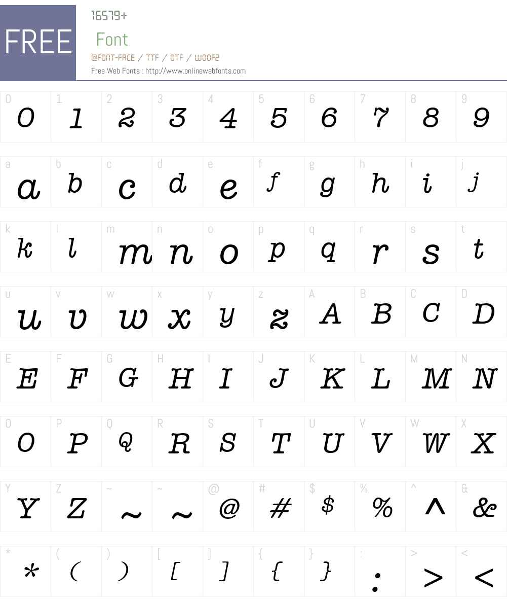 AmericanTypewriterITCW01-MdIt Font Screenshots