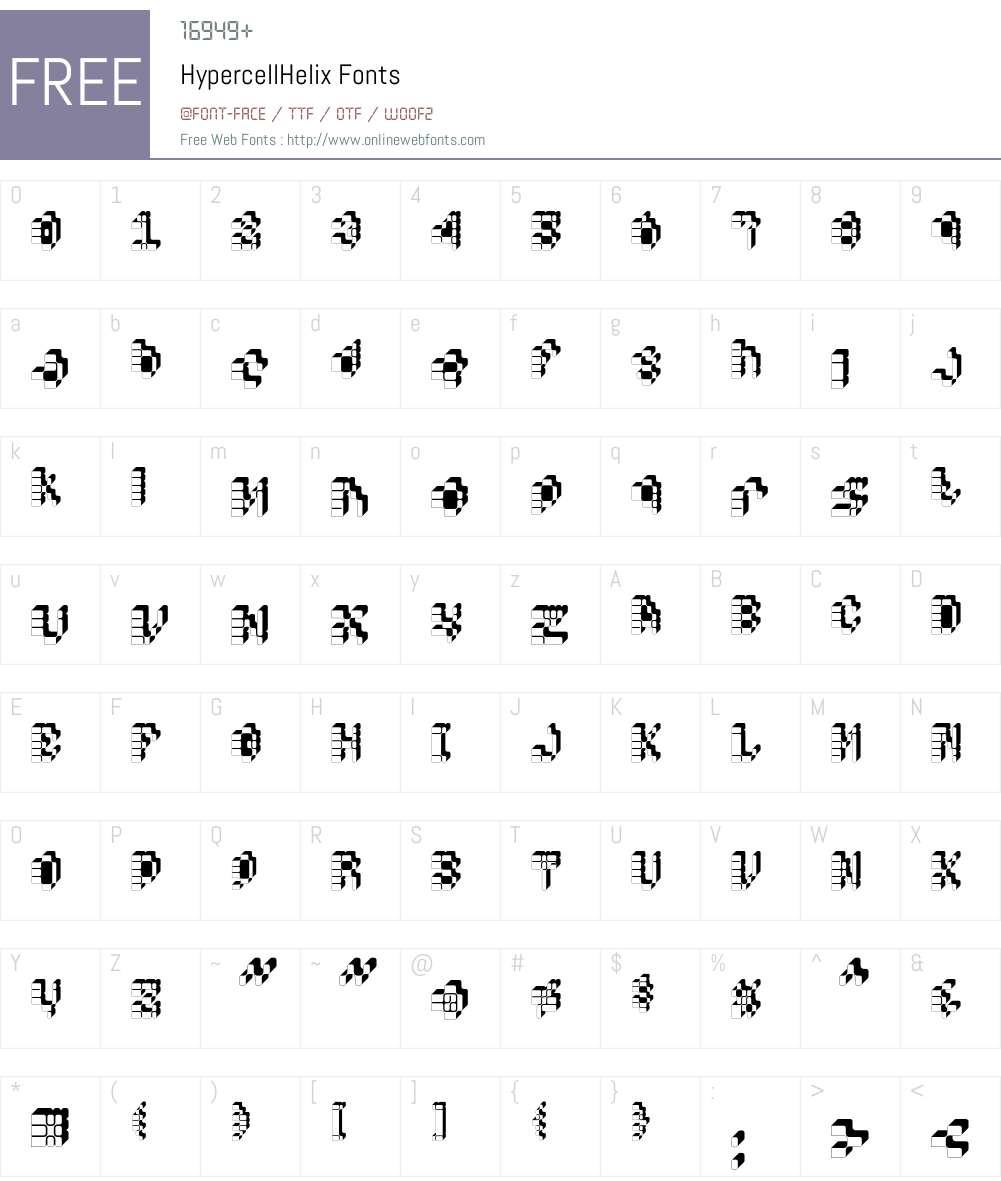 HypercellHelix Font Screenshots