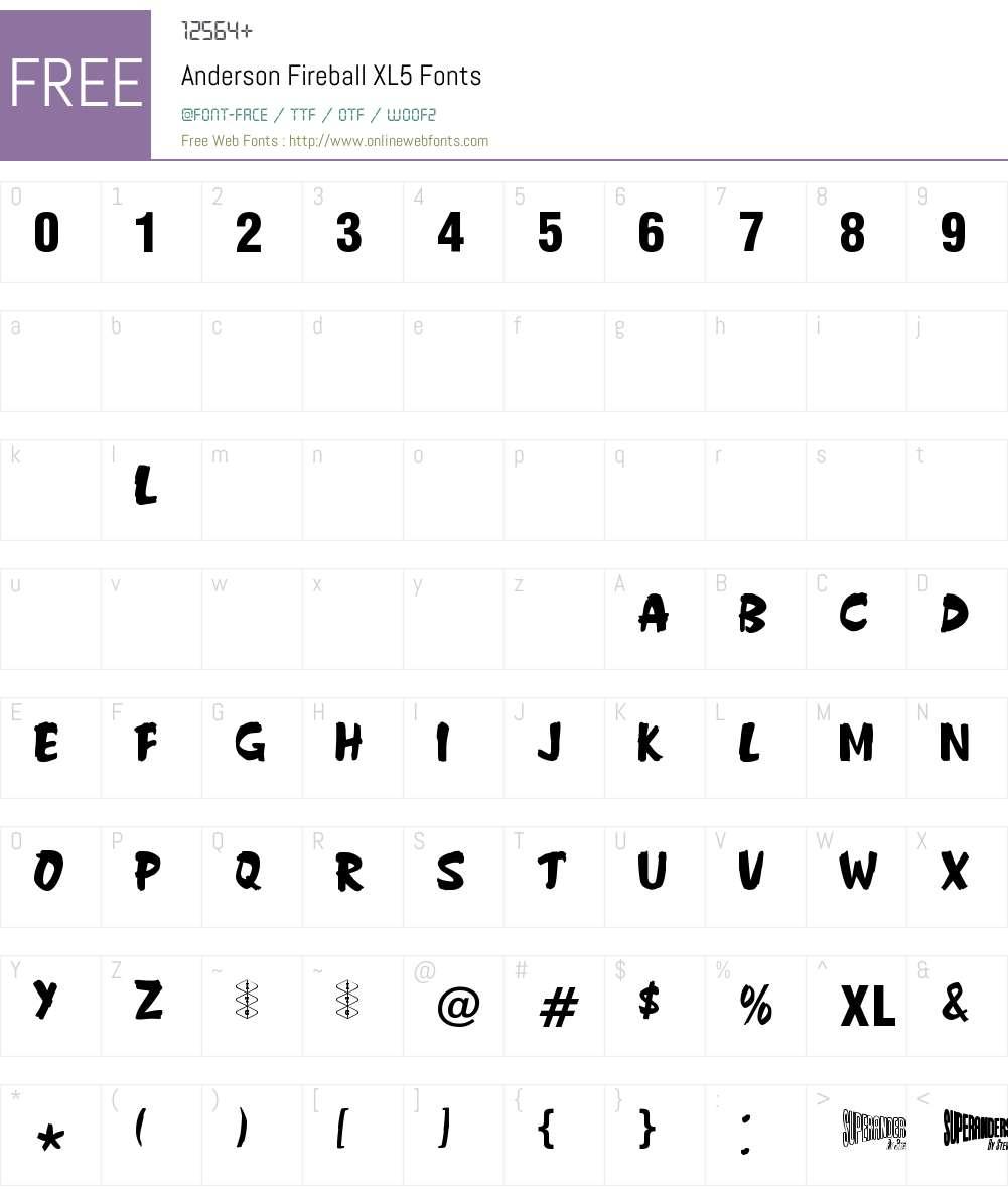 Anderson Fireball XL5 Font Screenshots