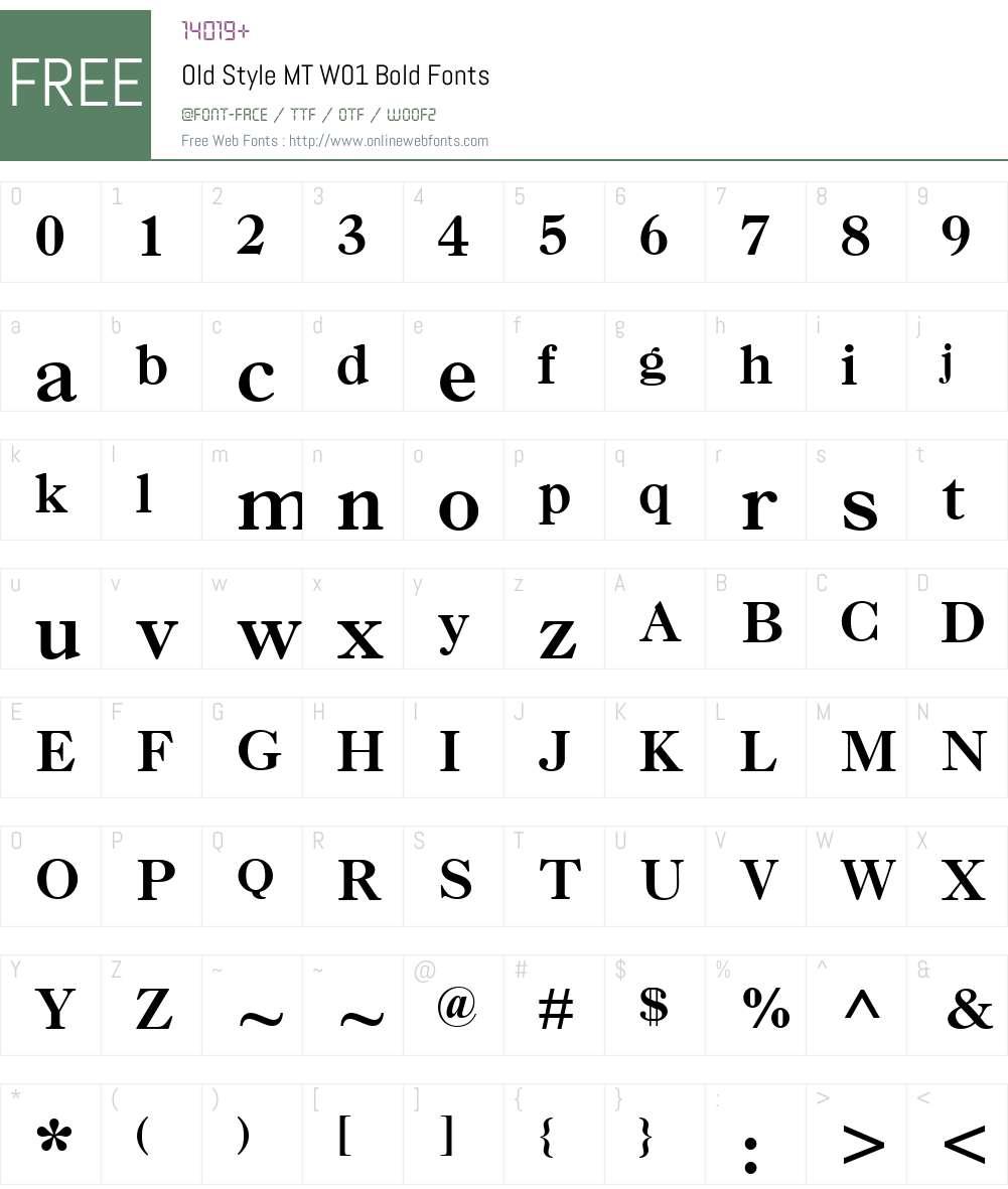 OldStyleMTW01-Bold Font Screenshots