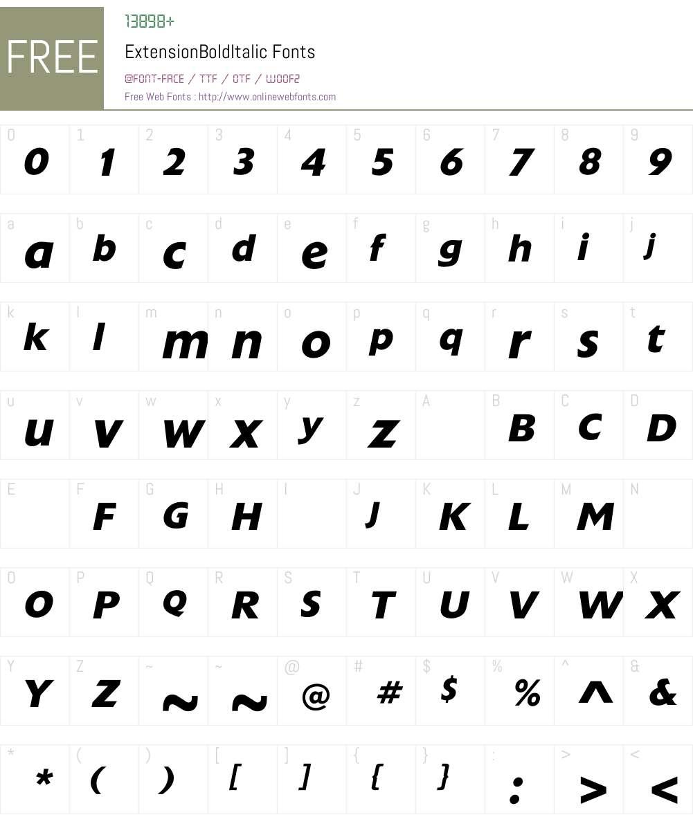 ExtensionBoldItalic Font Screenshots