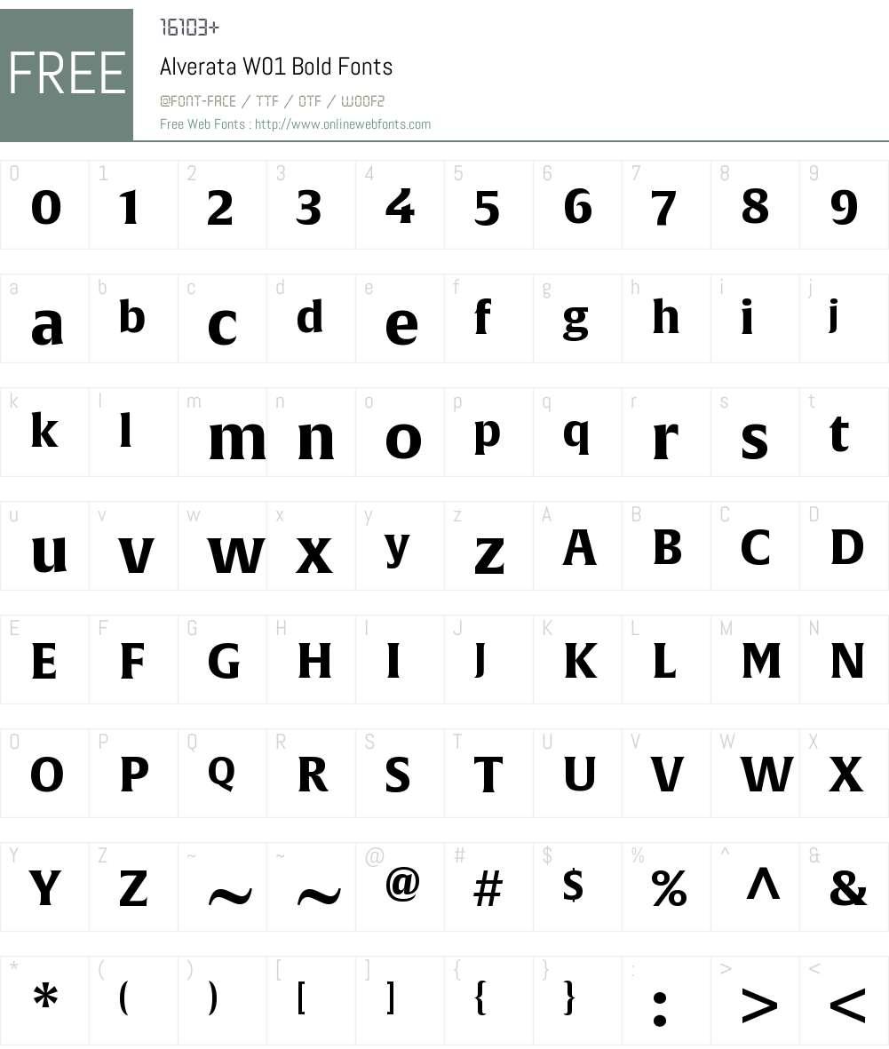 AlverataW01-Bold Font Screenshots