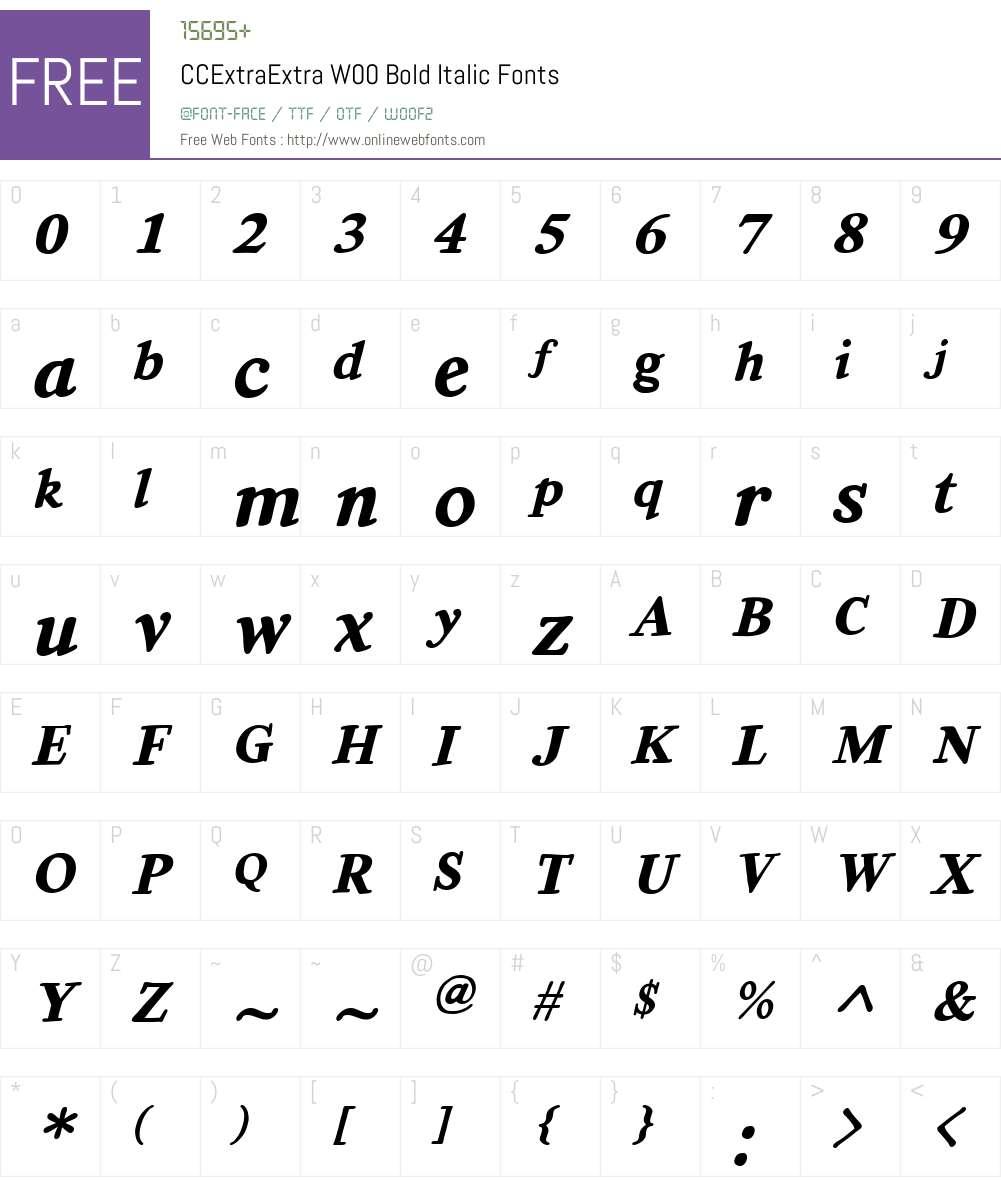 CCExtraExtraW00-BoldItalic Font Screenshots