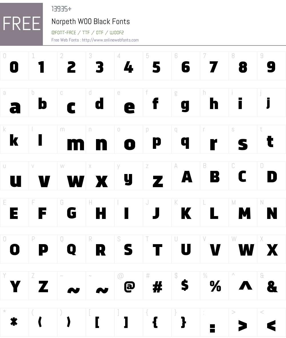 NorpethW00-Black Font Screenshots