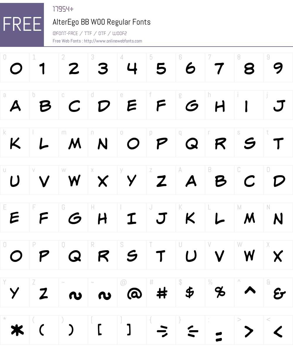 AlterEgoBBW00-Regular Font Screenshots