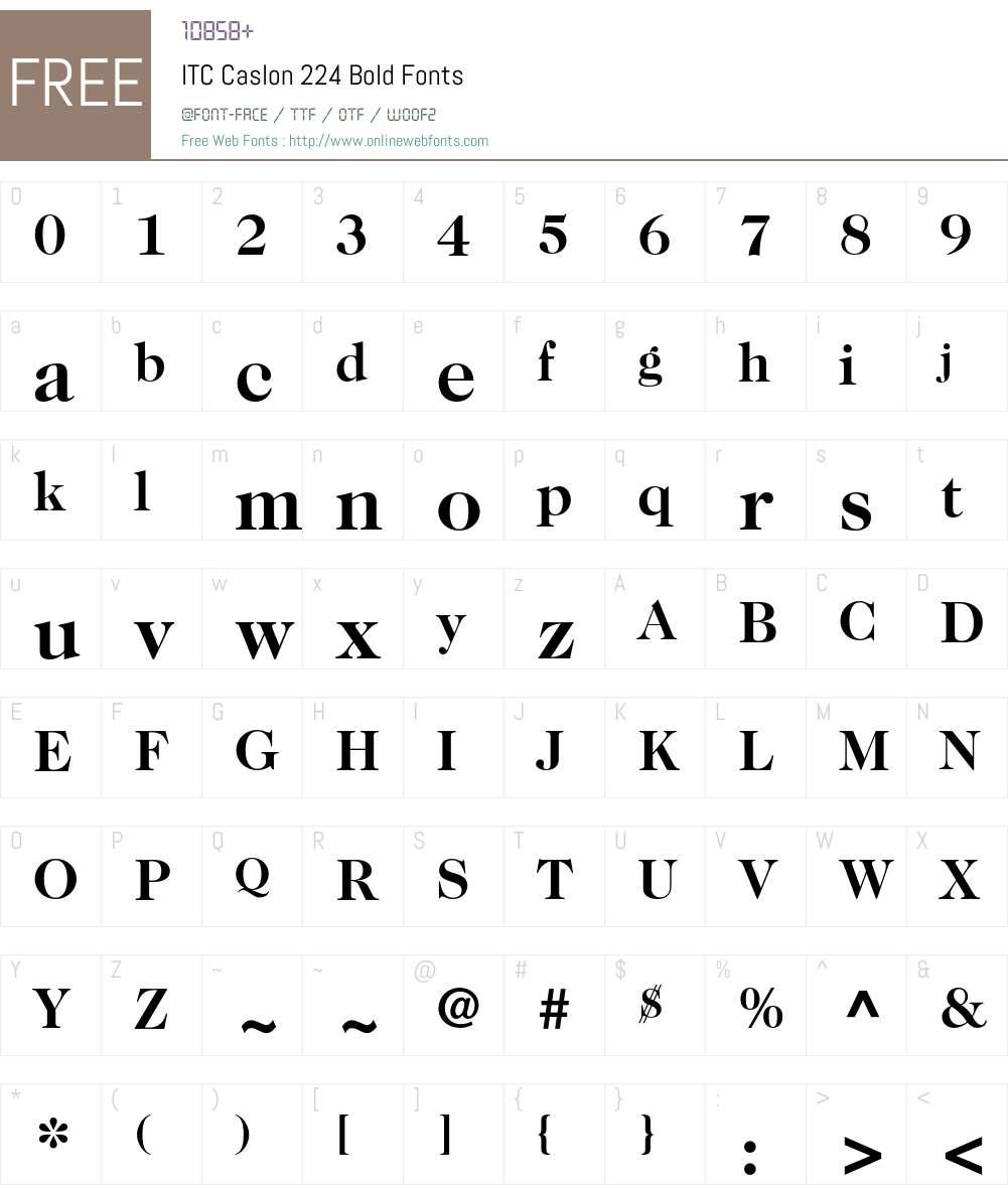 ITC Caslon 224 Font Screenshots