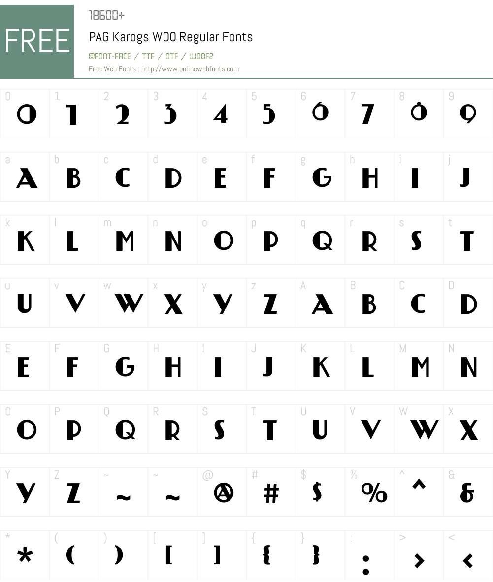 PAGKarogsW00-Regular Font Screenshots